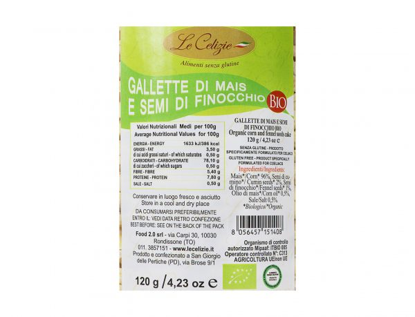 Gallette mais e semi di finocchio BIO