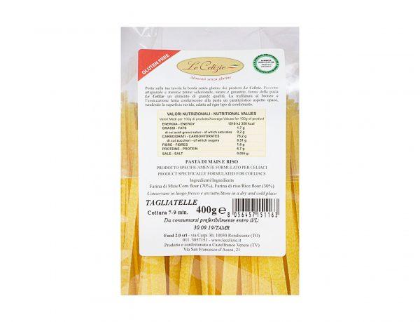 Tagliatelle pasta di mais e riso gluten free
