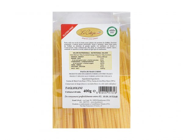 Tagliolini pasta di mais e riso gluten free