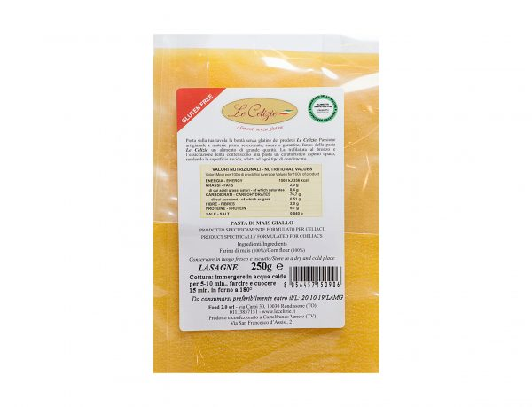 Lasagna pasta di mais giallo gluten free
