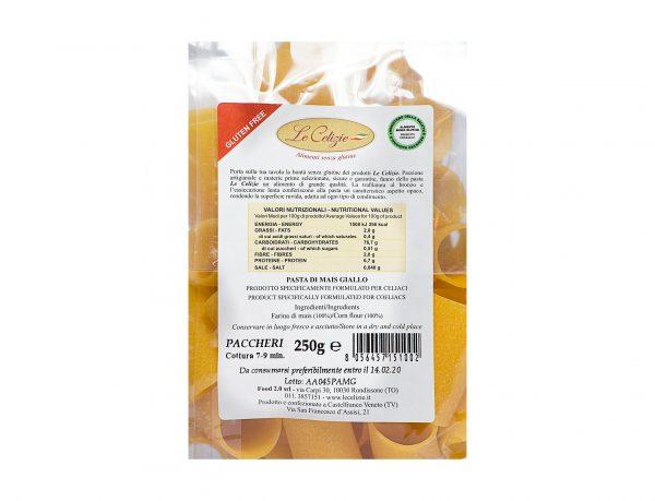 Paccheri pasta di Mais Giallo gluten free