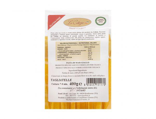 Tagliatelle Pasta Di Mais Giallo senza lattosio